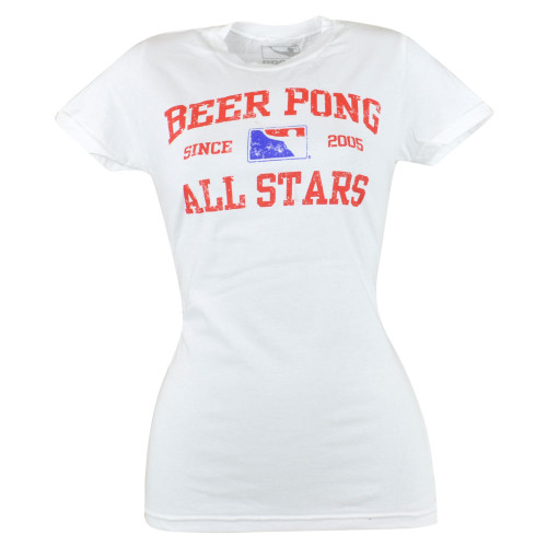 Beer Pong All Stars Since 2005 T-shirt Novelty Fashion Graphic Tee Women Fitted