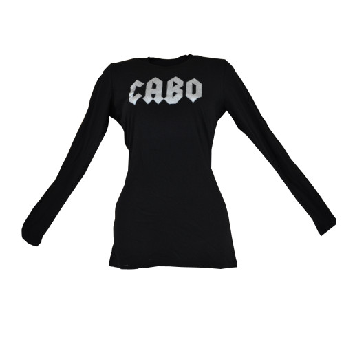 Cabo Wabo Mexico Tequila Women Long Sleeves Graphic Tee Crew Neck Liquor Black