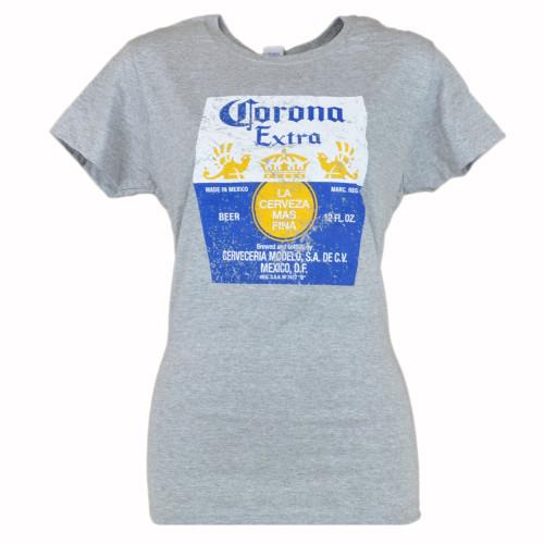 Corona Extra Beer Cerveza Distressed Label Logo Women Ladies Tshirt Grey Tee
