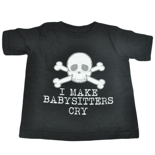 I Make Babysitters Cry Skeleton Skull Head Toddler Tee Distressed Tshirt Funny