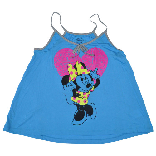 Disney Minnie Mouse Labels Junior Girls Loose Racerback Tank Top Shirt