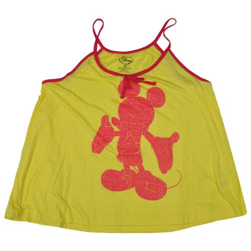 Disney Mickey Mouse Labels Junior Girls Loose Racerback Tank Top Shirt