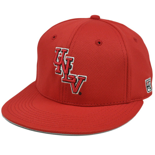 Hat Cap UNLV Nevada Las Vegas Runnin Rebels Red Flat Bill Polyester Fitted