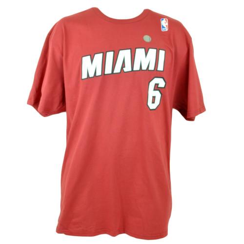 NBA Adidas Miami Heat Net Print Number Lebron King James #6 Tshirt Tee XLarge