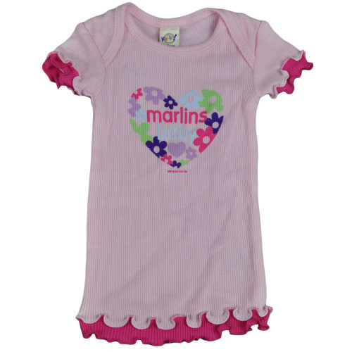 MLB Florida Miami Marlins Baby Infant Girls Flowers Shirt Tee Lettuce Edge