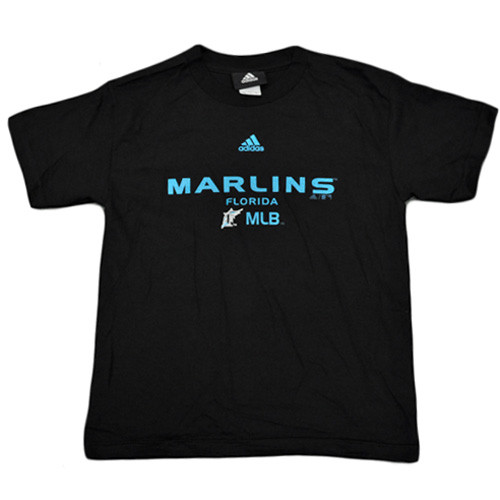 MLB Adidas Florida Miami Marlins Youth Kids Licensed Junior Tshirt Tee Black