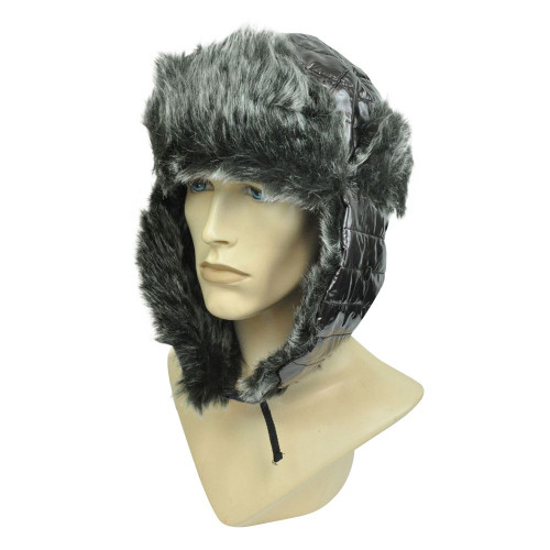 Brown Bubbly Aviator Trooper Ear Lap Bomber Winter Faux Fur Shiny Hat Cap Cold