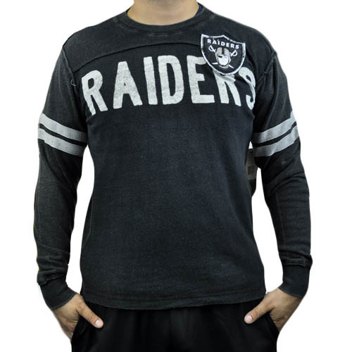 NFL Oakland Raiders Rave Cotton Long Sleeve Premium Shirt Sweatshirt Large LG