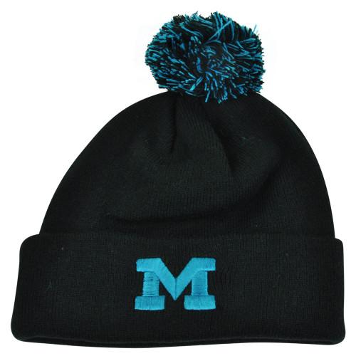 63a334ceb1b10 NCAA Zephyr Michigan Wolverines Gamma Pom Cuffed Knit Beanie Black Hat Toque