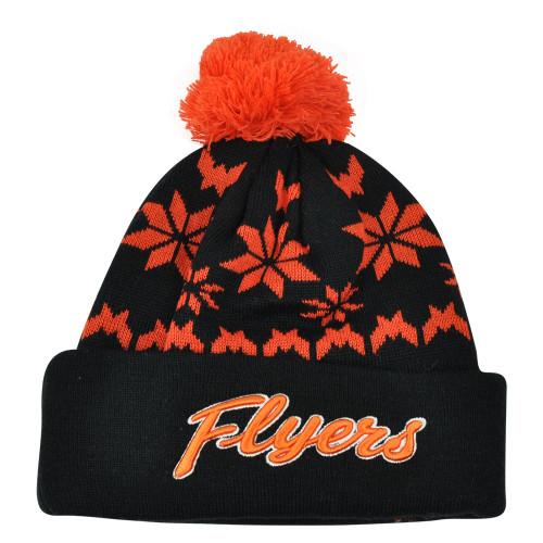 NHL Zephyr Philadelphia Flyers Custom Snowflake Cuffed Beanie Knit Toque Hat