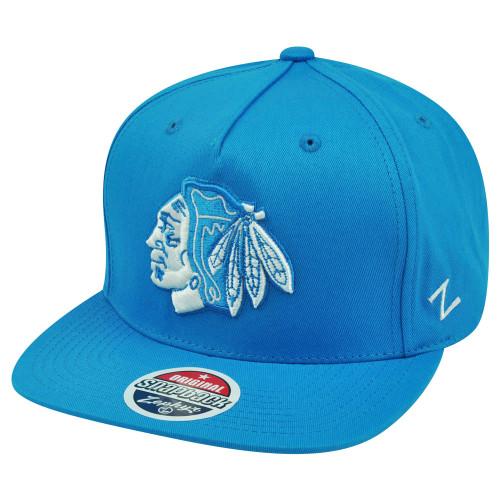 NHL Zephyr Chicago Blackhawks Popsicle 5 Panel Blue Snapback Flat Bill Hat Cap