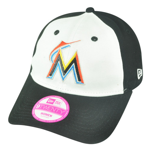 huge selection of 4f159 a779c MLB New Era 9Twenty Miami Marlins Glimmer Women Ladies Slouch Strapback Hat  Cap