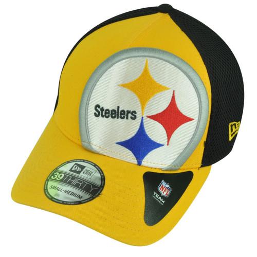 568c7e3259f026 NFL New Era 3930 Pittsburgh Steelers Flex Fit Small Medium Logo Blimp Neo  Hat