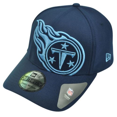 NFL New Era 3930 Tennessee Titans Flex Fit Medium Large Magnifier Hat Cap Navy