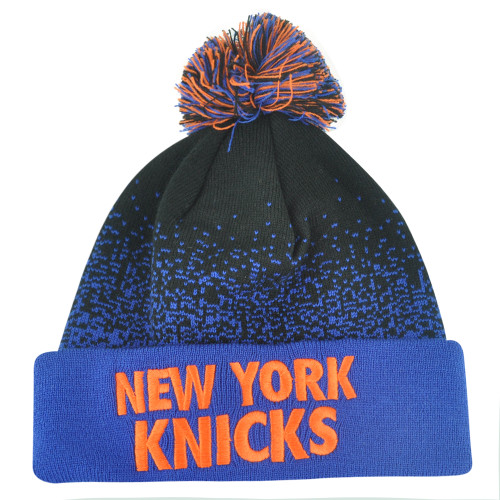 NBA Mitchell Ness Title Knit KM12 Cuffed Pom Pom Beanie New York Knicks HWC