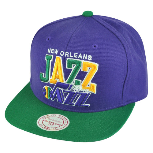 100% authentic 79ff2 488eb NBA Mitchell Ness HWC New Orleans Jazz NJ15Z 2 Tone Word Mark Snapback Hat  Cap