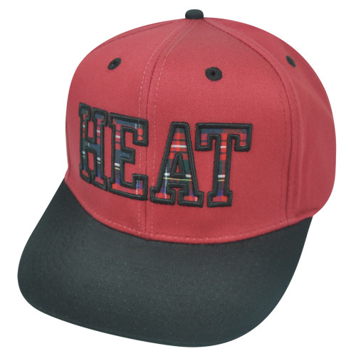 1d3c3aed49d30 NBA Miami Heat Flatter Snapback Flat Bill HWC Plaid Two Tone Hat Cap  Basketball