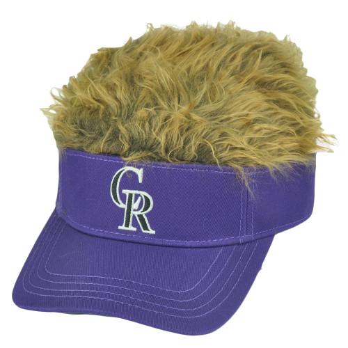 MLB Colorado Rockies Creed Flair Purple Brown Hair Visor Faux Fur Velcro Hat Cap
