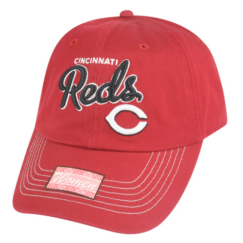 880dd351db2a29 MLB Cincinnati Reds Girlfriend Women Ladies Garment Wash Strapback Relax Hat  Cap
