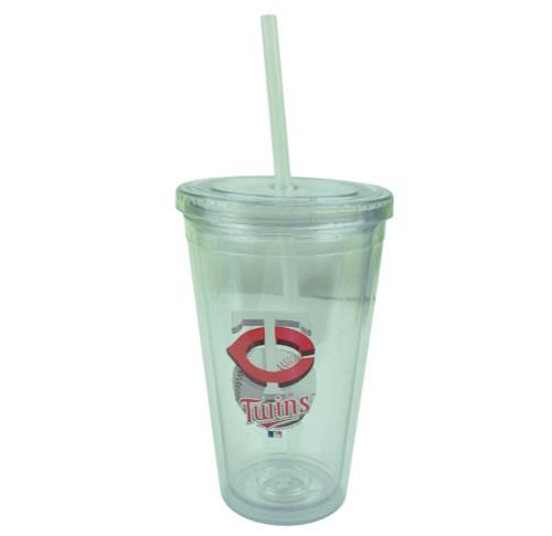 MLB Minnesota Twins Tumbler Cup Straw Lid 16oz Water Liquid Plastic Sip N Go
