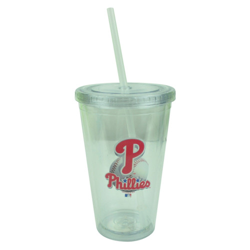 MLB Philadelphia Phillies Tumbler Cup Straw Lid 16oz Water Liquid Plastic Clear