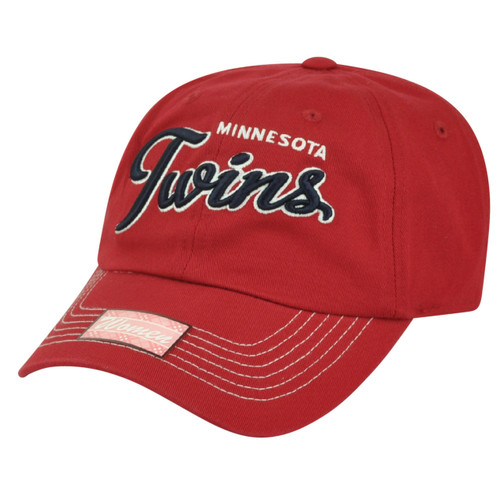 MLB Minnesota Twins Women Ladies Sun Buckle Lauren Slouch Relaxed Hat Cap Red