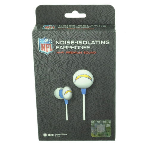 NFL San Diego Chargers Headphones Earphones Music Iphone Mp3 iHip Noise Isolating