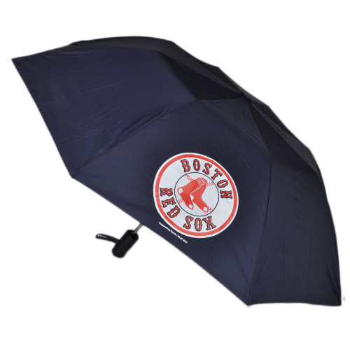 "MLB Boston Red Sox Auto Open Folding Umbrella 42"" Rain Game Day Fan Navy Blue"
