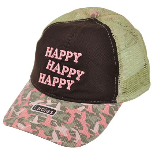 A&E Duck Dynasty Happy Mesh Women Ladies Trucker Garment Wash Adjustable Hat Cap