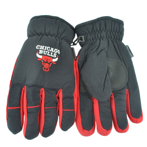 NBA Chicago Bulls Two Tone 3M Men Winter Snow Ski Gloves Thermal Insulation S/M