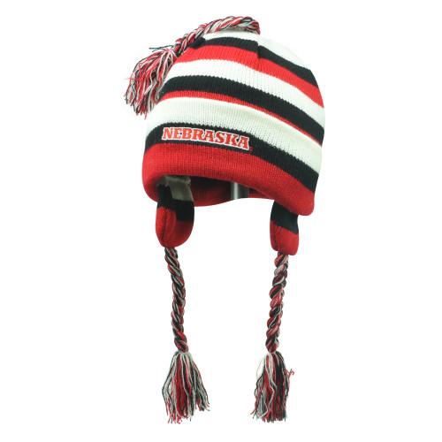 online retailer 9eff4 d36f0 NCAA Nebraska Cornhuskers Youth Knit Star Jr Beanie Striped Tassel Ear Flap  Hat