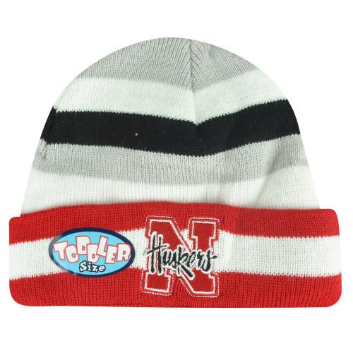 new concept 0fd4d 857fa NCAA Nebraska Cornhuskers Toddler Lil Sweet B Striped Cuffed Knit Beanie  Skully