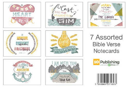 7 Assorted Bible Verse Notecards Pack of 7 with envelopes [Greetings Card]