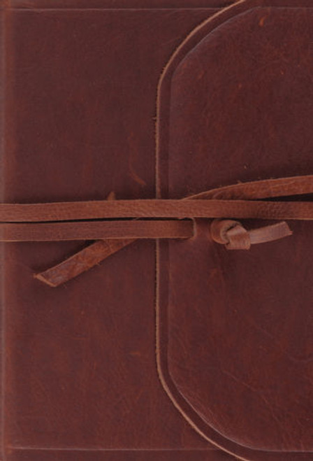 ESV Large Print Compact Bible Natural Leather Flap with Strap Natural Leather, Flap with Strap [Leather]