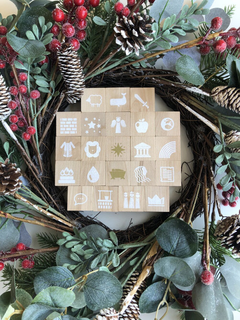 Advent Blocks (White and Gold) 27 blocks, a 25-day guide, and a storage and gift box [Calendar]