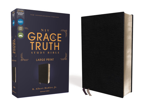 NIV Grace and Truth Study Bible Large Print, European Bonded Leather, Black, Red Letter, Comfort Print [Leather]