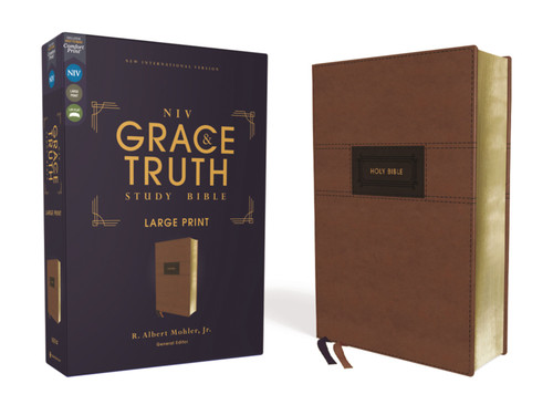 NIV Grace and Truth Study Bible Large Print, Leathersoft, Brown, Red Letter, Comfort Print [Leather]