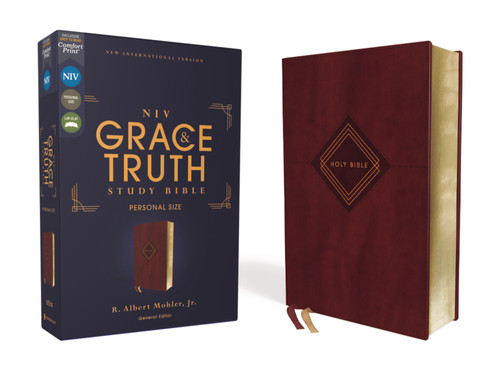 NIV Grace and Truth Study Bible Personal Size, Leathersoft, Burgundy, Red Letter, Comfort Print [Leather]