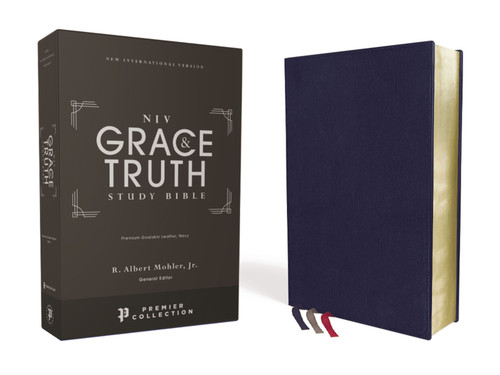 NIV Grace and Truth Study Bible Premium Goatskin Leather, Navy, Premier Collection, Black Letter, Art Gilded Edges [Leather]