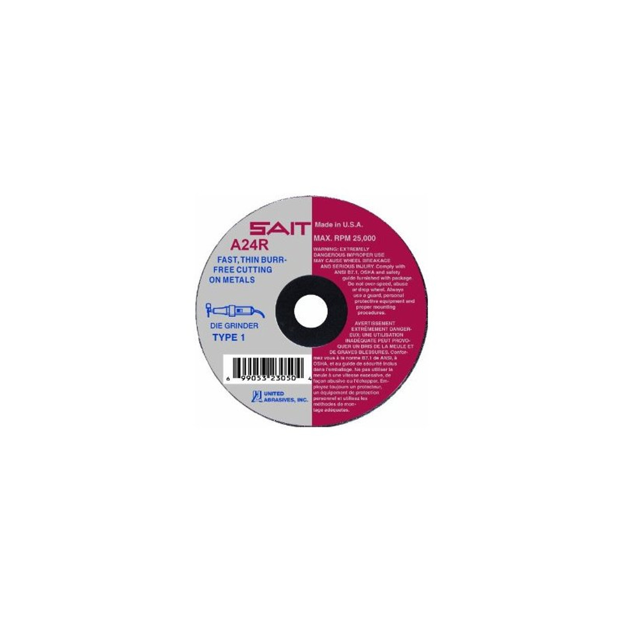 SAIT 23060 Type 1 Cutting Wheel 25-Pack United Abrasives 3 by 1//8 by 3//8 A24R