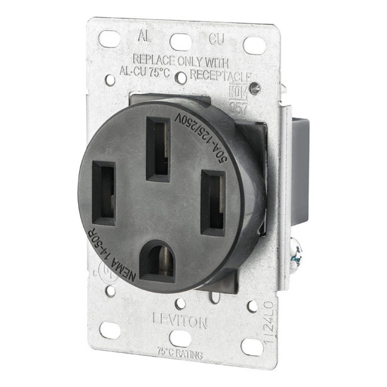 Nema 14 50r >> 50 Amp Nema 14 50r Receptacle 125 250 Volt Black No R10 00279