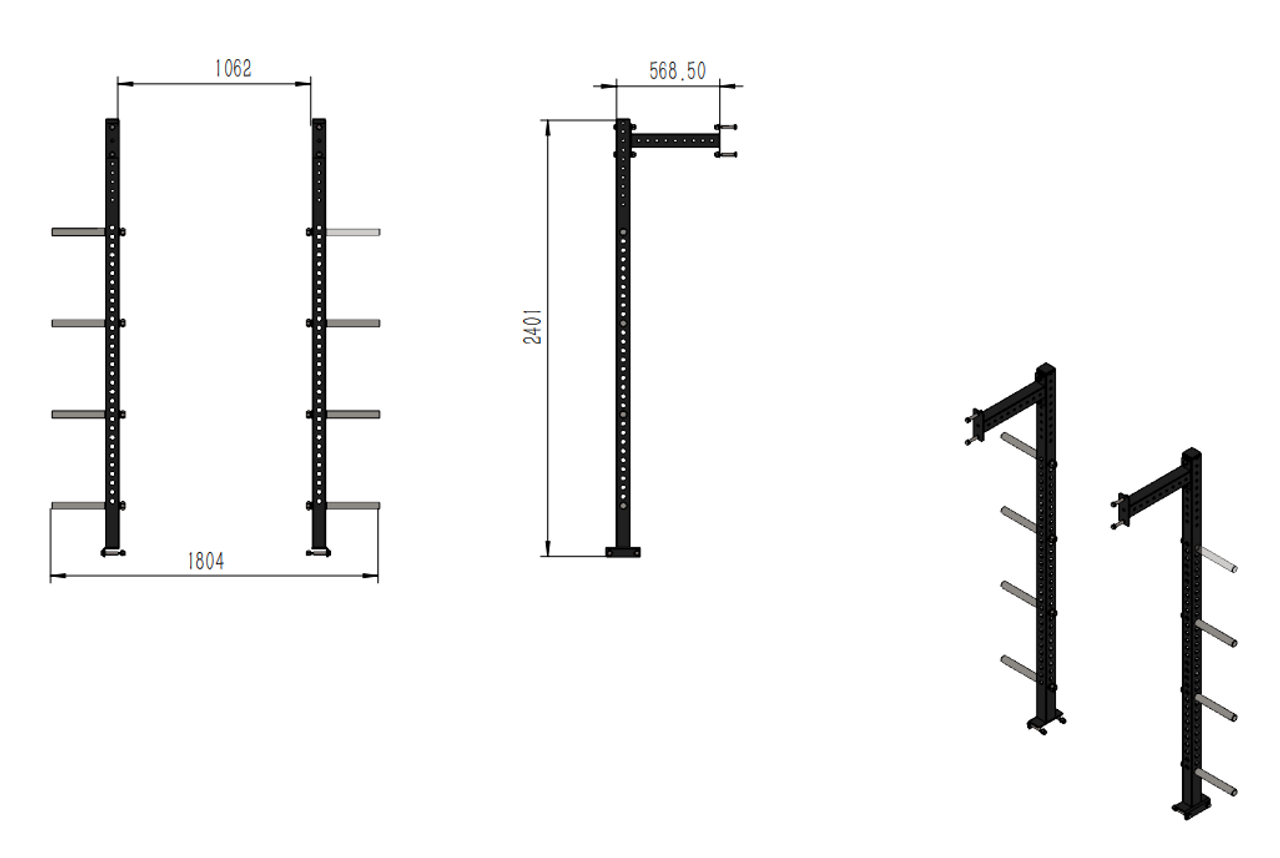 Squat Rack with multi pull up and rear storage