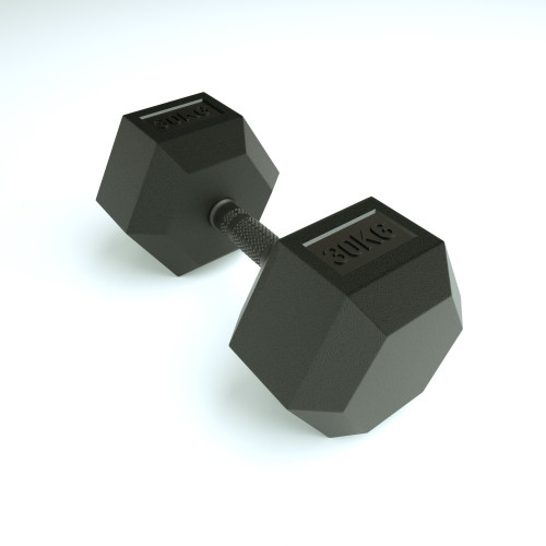 45kg Rubber Hex - Rubber coated handle (SINGLE)