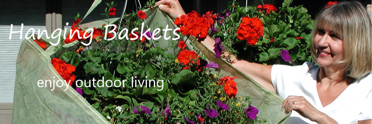 Protect hanging baskets and their root system from wind and damaging cold weather. Unique strap holds cover in place while you secure with drawstring.