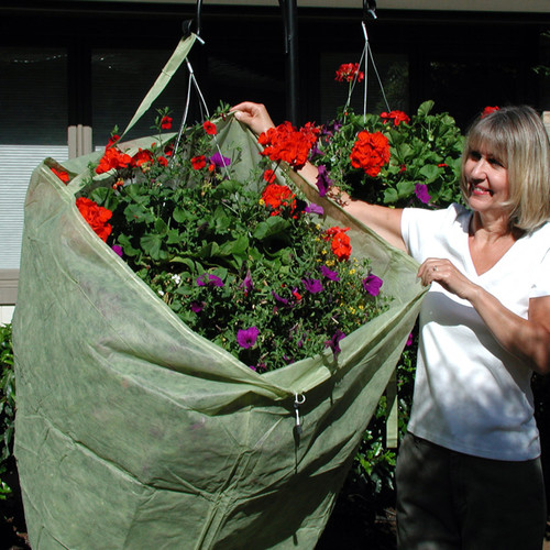 Frost Protek Hanging Basket Cover is designed specifically for hanging baskets. Attach the sewn-in strap to the hanging hook so you have both handsfree  to pull the cover over the plant. Tighten the drawstring to quickly secure the cover in place.