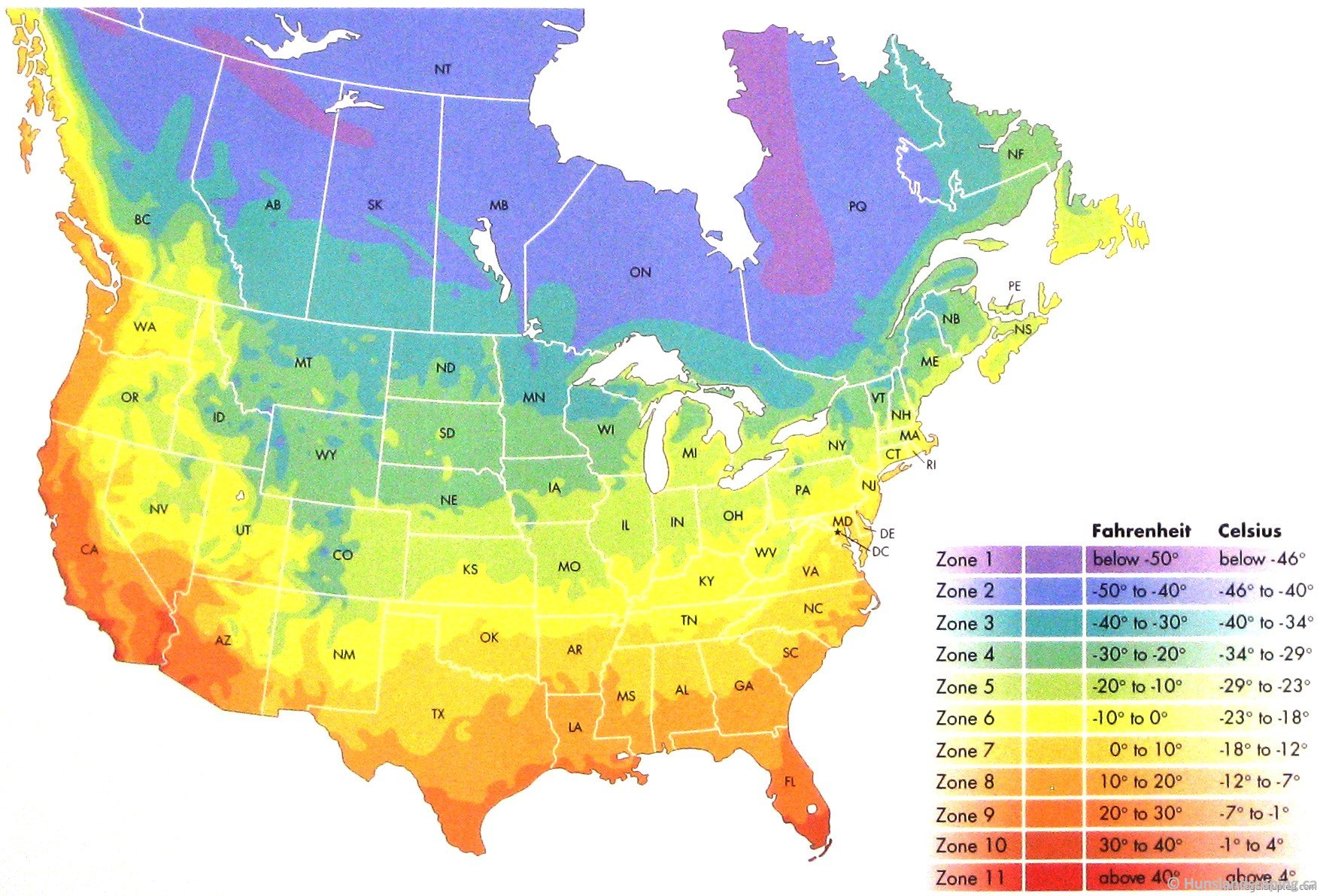 USDA Zone Chart