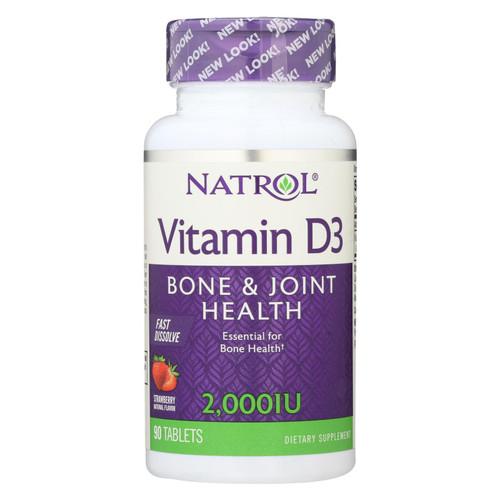 Natrol Vitamin D3 Wild Cherry - 2000 IU - 90 Mini Tablets