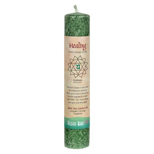 """Aloha Bay Chakra Pillar Candle - Green - 8"""""""