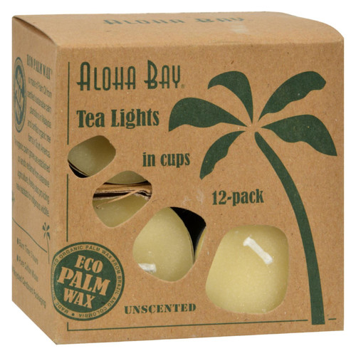Aloha Bay Palm Wax Tea Lights with Aluminum Holder Cream - 12 Candles