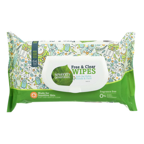 Seventh Generation Baby Wipes - Free and Clear - 64 ct - Case of 12